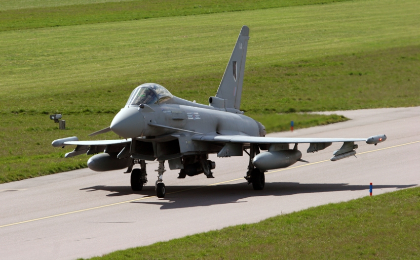 |A 17 Sqn Typhoon at RAF Coningsby fitted with one AIM-132 and the LITENING targeting pod.