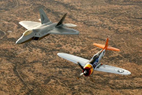 US heavy fighters: Advanced tactical fighters of two eras, the F-22 and the P-47.
