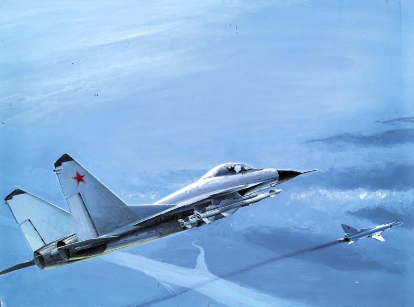 """Early artist's impression: Su-27 'Flanker' (or is it a MiG-29?) escorting a """"Tu-26"""" (Tu-22M) 'Backfire'"""