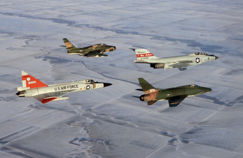 F-84F_F-100D_F-101B_F-102A_from_ANG_in_flight_c1970