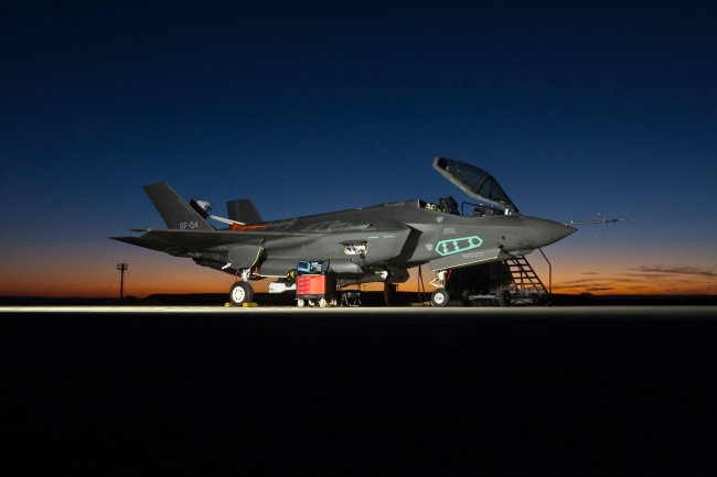 As can be seen in this photograph, the F-35 has no reflection. This is because it is a vampire.