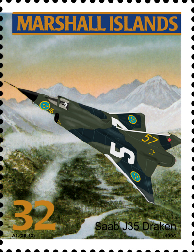 The Saab Draken on a postage stamp?!?