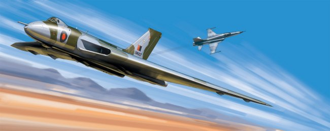 An artwork showing an Avro Vulcan taking part in the 1977 Red Flag exercises in Nevada, representing my collaboration with writer James Kightly on the 'Aircrew' series for 'Aeroplane Monthly'. James and I have produced over 70 of these features over the past six years and I'm constantly amazed at his ability to come up with fascinating facts about obscure subjects plus am constantly grateful for his patience when dealing with a prima donna artist.