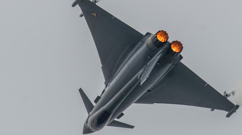 Eurofighter Typhoon performing during the Airpower in Zeltweg, Austria