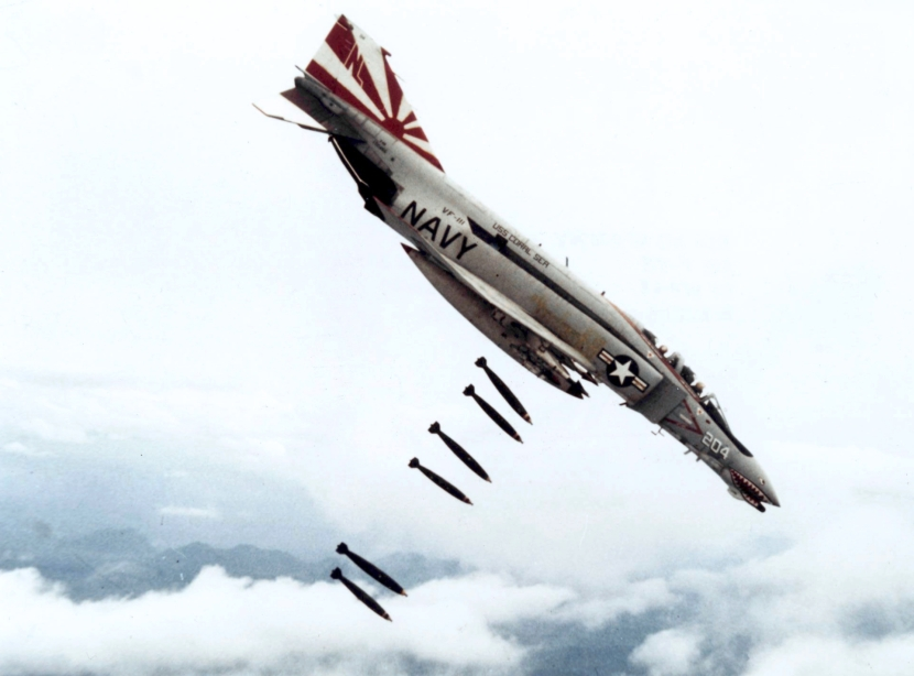 F-4B_VF-111_dropping_bombs_on_Vietnam