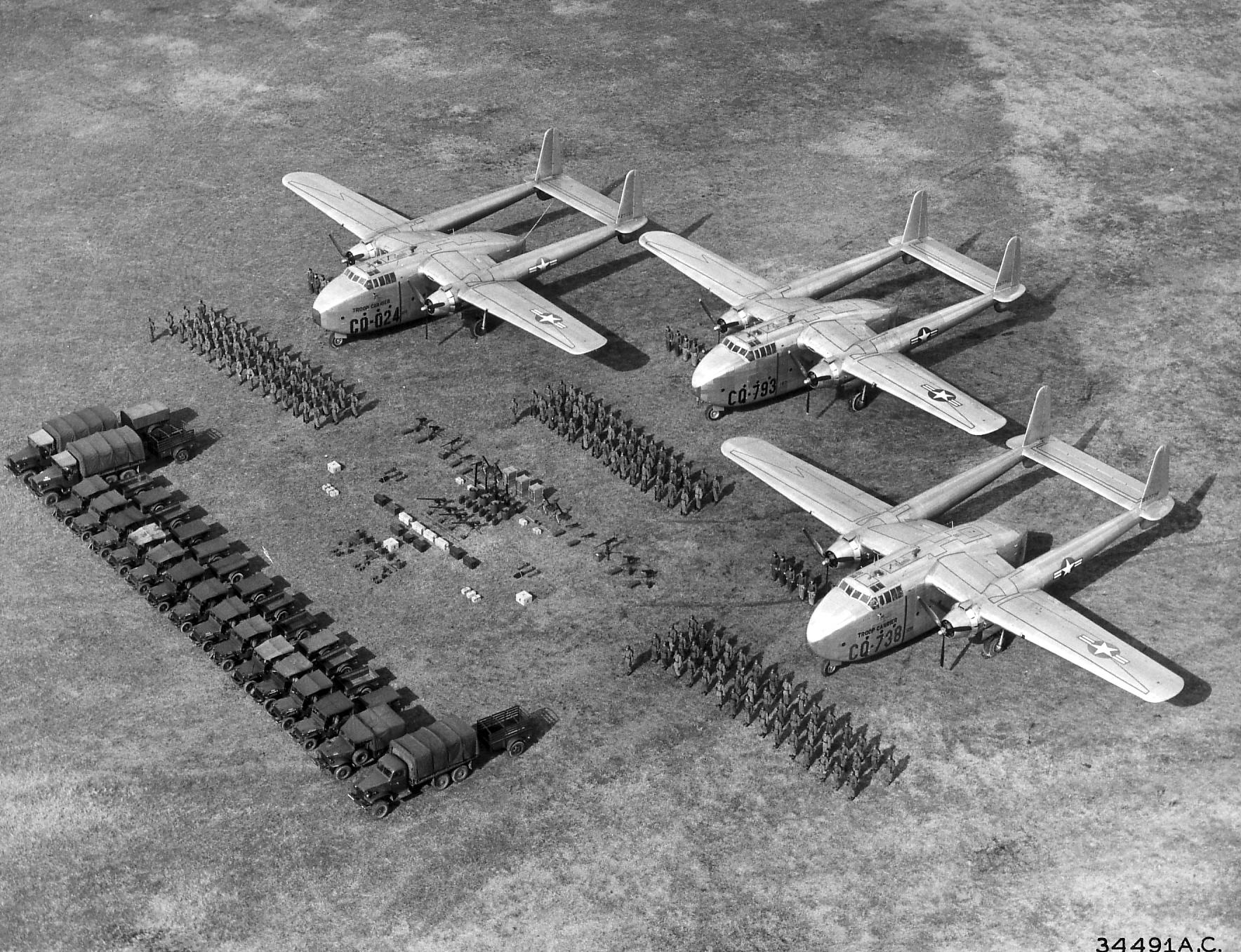 "Three Fairchild C-82 ""Packet"""
