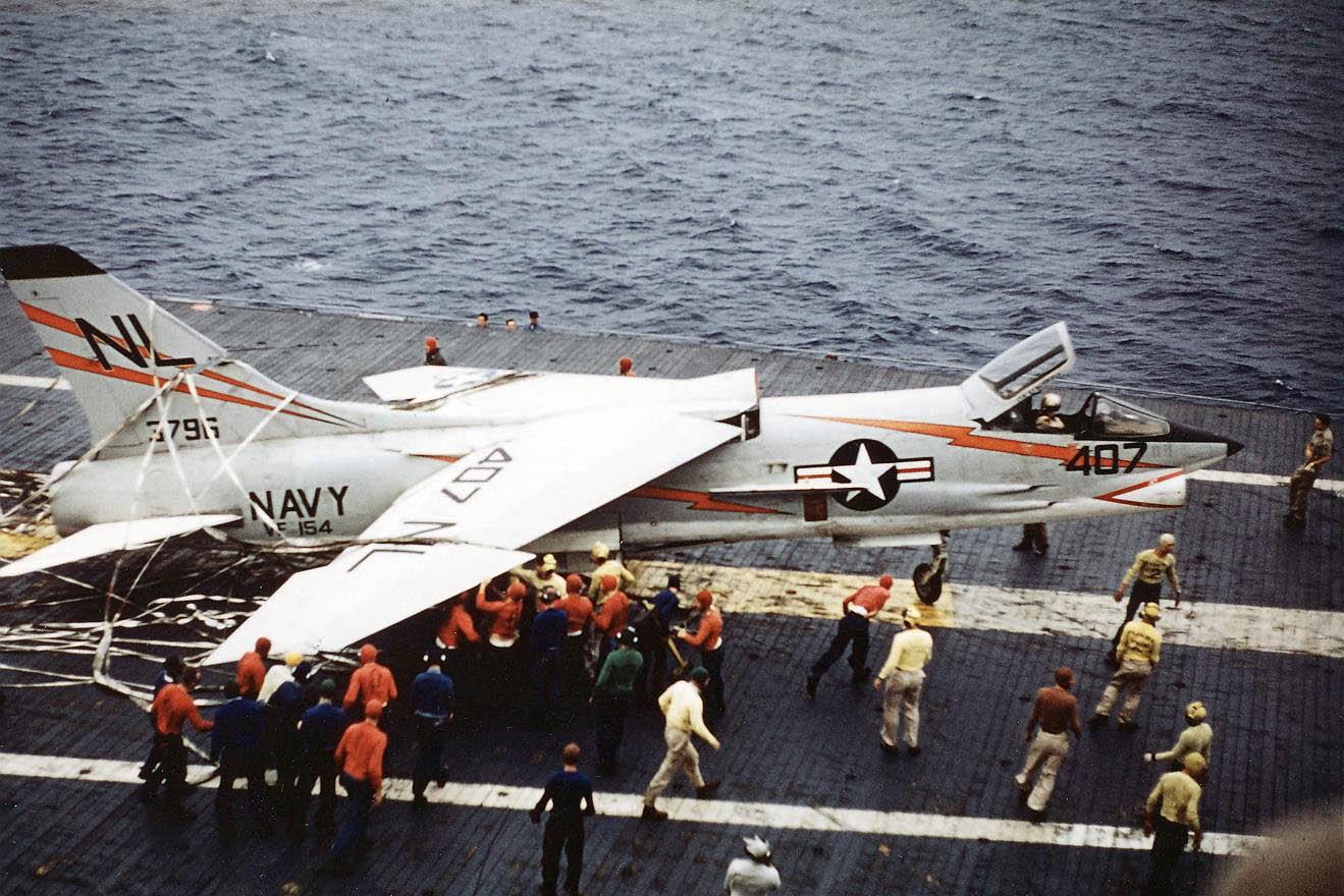 F8U-1_Crusader_of_VF-154_after_barrier_landing_on_USS_Hancock_(CVA-19)_in_January_1958
