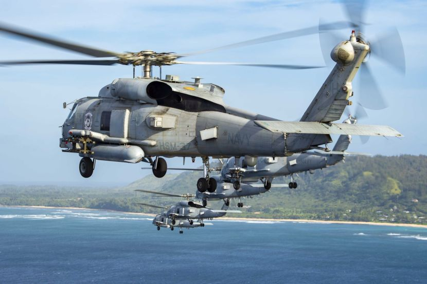 HSM 37 Helicopters Fly In Formation Around Oahu